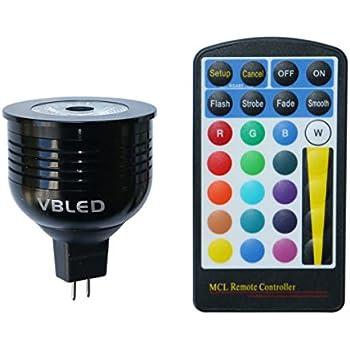vbled 7 W RGB + W Bombilla/coloreado/de bombilla LED incluida, 12 V AC/DC, MR16/GU5.3 Capacidad DIMM Bar (4 niveles, incluye mando a distancia)