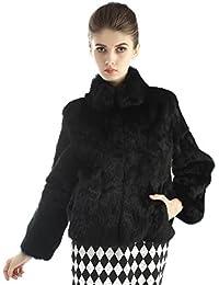 Bellerfur Abrigo de piel del conejo del invierno de las mujeres de la chaqueta de piel de conejo genuino con diseño de cuello del soporte