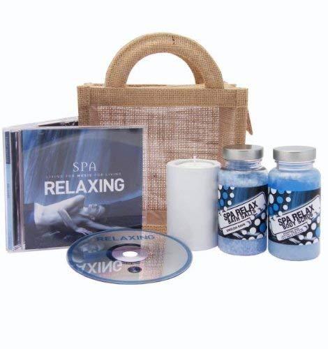Spa Relax CD Musik Geschenk Auswahl Geschenkset by Regent House; jute täschen beinhaltet Körperpeeling mit ätherischee Öle, badesalz und ein keramik Öl verbrenner mit teelicht