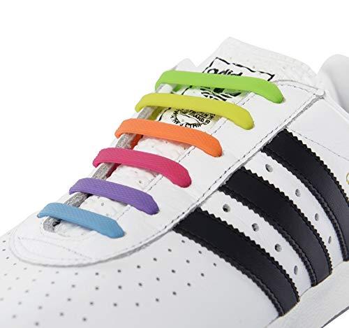 RECKNEY lacci per scarpe senza nodo per bambini e adulti, in silicone, piatti, per scarpe da ginnastica, elastici, facili da inserire - Rainbow