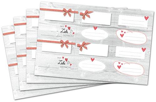 Kigima 48 edle Aufkleber Sticker Klebe-Etiketten Leer 7x3cm rechteckig hellgrau Holz-Look perfekt für Geschenke, Hochzeit oder Tischdeko Leer Eingelegte Gläser