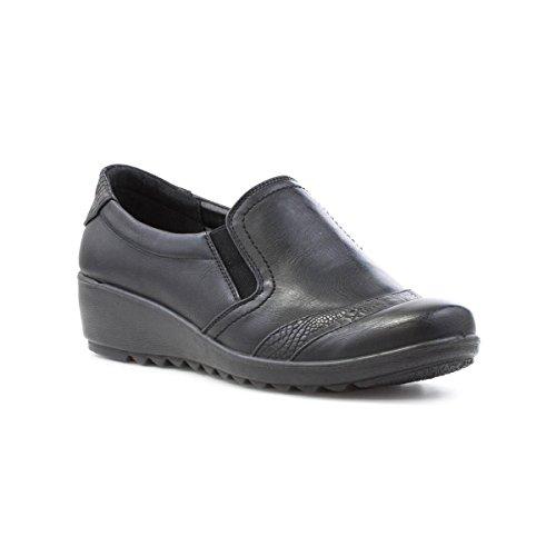 Cushion Walk - Softlites Womens Black Wedge Loafer Shoe - Size 6...