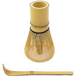 Chasen (Bambusbesen) und Chashaku (Hooked Bamboo Scoop) für Matcha Tee Zubereitung -MatchaDNA Marke