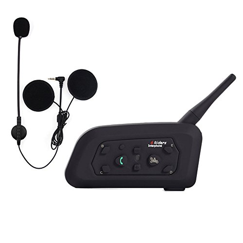 Stereo Portable Intercom (Qaurora V6 BT Interphone 1200M Bluetooth Motorrad Motorrad Helm Gegensprechanlage Headset mit Duplex Interphone Erweiterte Lärmschutz für bis zu 6 Reiter Skifahren und Reiten)