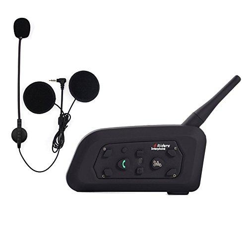 Qaurora V6 BT Interphone 1200M Bluetooth Motorrad Motorrad Helm Gegensprechanlage Headset mit Duplex Interphone Erweiterte Lärmschutz für bis zu 6 Reiter Skifahren und Reiten (Atv Helm Mit Bluetooth)