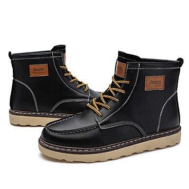 Aiurbag Hommes Chaussures En Cuir Automne Hiver Confortable Cheville Bottes Bottines Lacets Pour Casual Noir Brun Clair Marron Foncé Noir