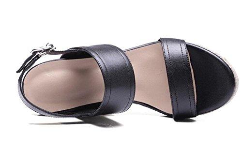 PBXP Wedge Open-Toe Frauen Sommer Sandalen Pump Gürtelschnalle Einfache Sandalen Hell Braun Schwarz Europa Größe 34-39 Black