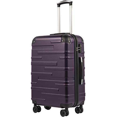 COOLIFE Hartschalen-Koffer Rollkoffer Reisekoffer Vergrößerbares Gepäck (Nur Großer Koffer Erweiterbar) ABS Material mit TSA-Schloss und 4 Rollen(Violett, Großer Koffer) -