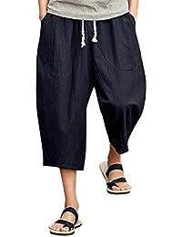 0da024b8ee26b Homme Pantalon été Occasionnels Capri Shorts 3 4 Pantacourt Loose Fit,  QinMM Coton Lin