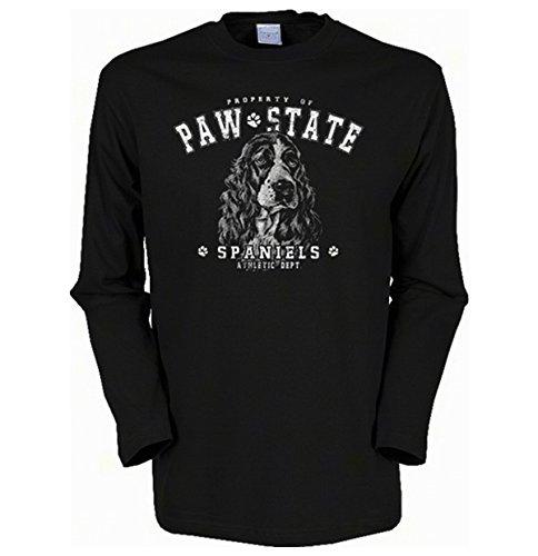 Herren Langarm-Shirt ::: Paw State Spaniels ::: für Hundeliebhaber Schwarz