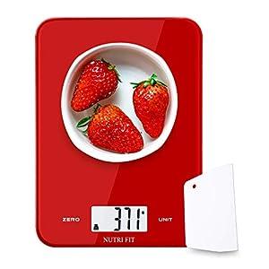 NUTRI FIT Digitale Küchenwaage, max. 8kg, Hochpräzise elektronische Waage mit Teigschaber, Portabel und mit Tare Function, zum Backen und Kochen, Farbe: Rot