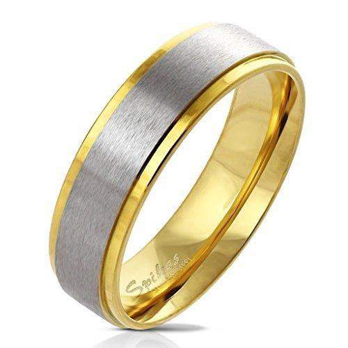 Tapsi´s Coolbodyart® Damenring Herrenring aus Edelstahl in gold mit gebürstetem Edelstahl-Zentrum Größe 10 Antike Größe 10 Ringe