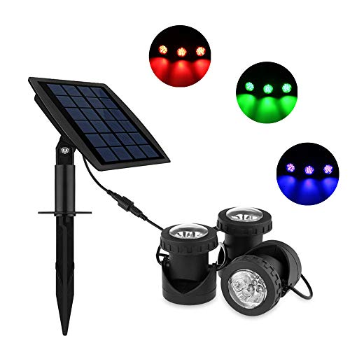 TiooDre Solar Underwater Pond Lights, Waterproof Submersible Projector Light, Auto-on/Off, for Garden Pool Pond Yard Landscape Underwater Spotlights Outdoor Lighting (Set of 3 Lights) -