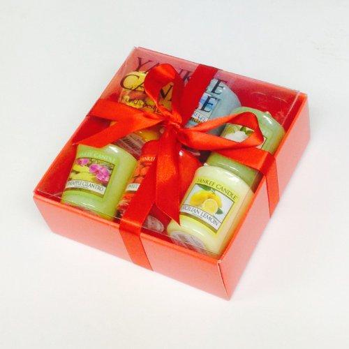 Coffret de 6 Bougies parfumées (dont pêche, mangue) colorées Yankee Candle - Enveloppé dans un emballage cadeau avec un ruban rouge