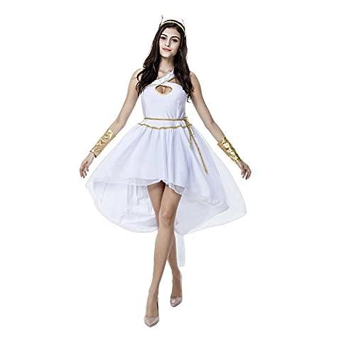 Griechische Göttin Weißes Kleid Sexy Elegant Fasching Halloween Kostüm Cosplay Damen (Griechische Göttin Kopfschmuck Kostüm)