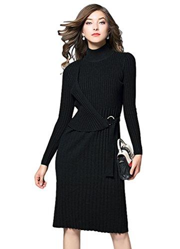 YiJee Donna Casual Morbido Comodo Vestito Autunno Business Caldo Abito a Maglia Nero