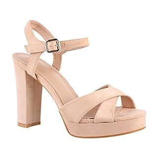 Elara Damen Pumps | Bequeme Peep-Toe Sandalette | Trendige Plateau High Heels | Chunkyrayan 7128-GL Beige-40