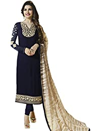 Vinay Women's Georgette Semi-Stitched Salwar Suit (Blue_Free Size)