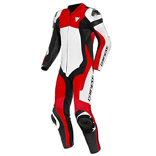 Dainese Assen 2 1-Teiler Perforierte Motorrad Lederkombi Weiß/Rot/Schwarz 52
