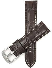 20mm Correa reloj de cuero auténtico, Marrón, con costura blancoa, Aligator grano, hebilla de acero inoxidable, también disponible en negro et marrón rojizo