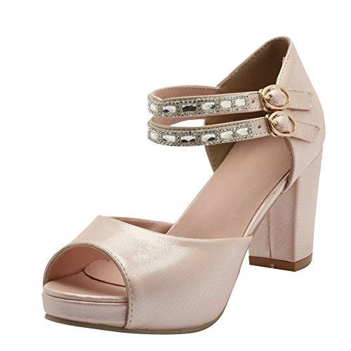 Mee Shoes Damen peep toe ankle strap chunky heels Palteau Pumps Pink