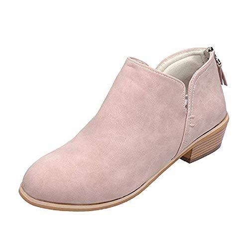 JOYTO Stiefeletten Damen Chelsea Leder Kurzschaft Stiefel mit Absatz Winter Boots 4 cm Blockabsatz Cut Out Flach Reißverschluss Elegant Bequem Pink 42 -