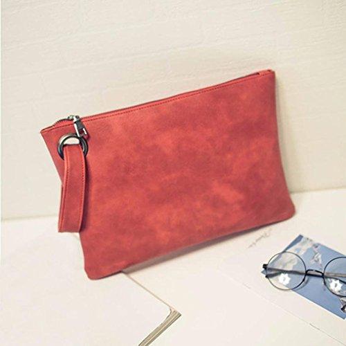 Taschen,Oyedens Frauen Einfache Retro PU-Leder-Handtasche Rot