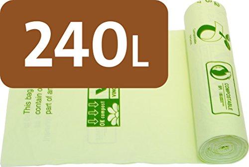 Alina 240L compostabili ruote Bin Liner/rifiuti di giardino, sacca/bidone compost/biodegradabile verde 240litri sacco con Alina compostaggio guida, 13 sacks