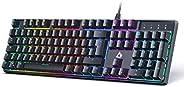 AUKEY Tastiera Gaming Meccanica con Switches Blue e Retroilluminazione LED, Tastiera Meccanica con 105 Tasti 1