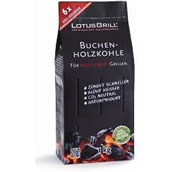 LotusGrill Buchen-Holzkohle 1kg! Speziell entwickelt für den raucharmen Holzkohlegrill/Tischgrill