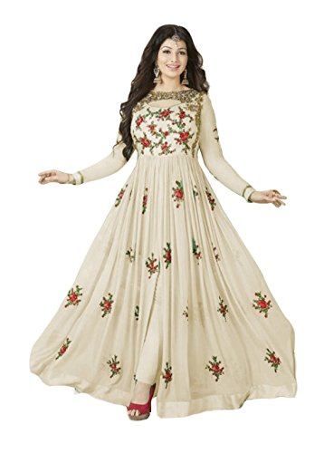 Ethnic Yard Semi-Stitched Stylish Designer Embroidered Gerorgette Anarkali Dress Material