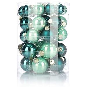 com-four® 44x Christbaumkugel in verschiedenen Größen - Weihnachtskugel für den Weihnachtsbaum - Christbaumschmuck aus Glas (44-teilig - grün)