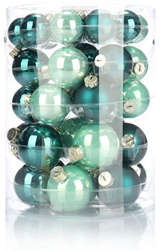 Com-four® 44x palla per albero di natale di diverse dimensioni - palla di natale per l'albero di natale - decorazioni per alberi di natale in vetro (44 pezzi - verde)