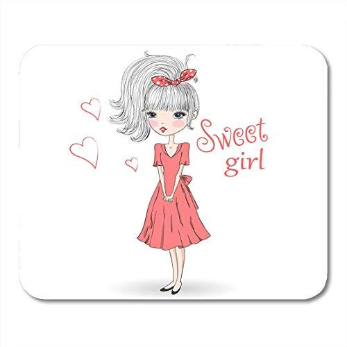 Luancrop Mausunterlage-rosa junges schönes nettes süßes Mädchen im roten Kleid Mousepad für Notizbücher, Tischrechner-Mausunterlagen, Büroartikel -