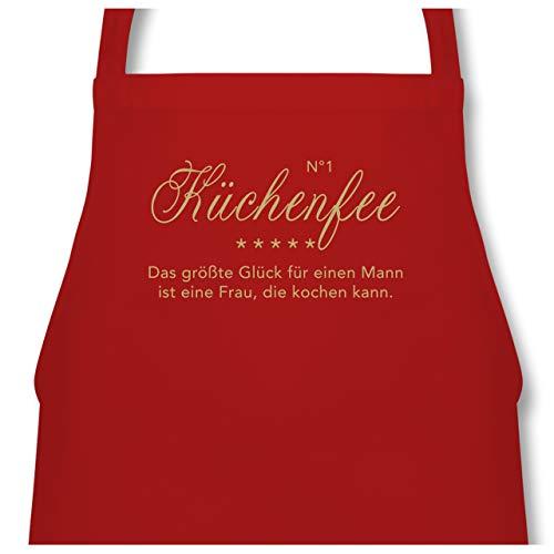Shirtracer Küche - N°1 Küchenfee - 60 x 87 cm (B x H) - Rot - PW102 - Kochschürze für Männer und Damen (Schürze Köche Lustige)