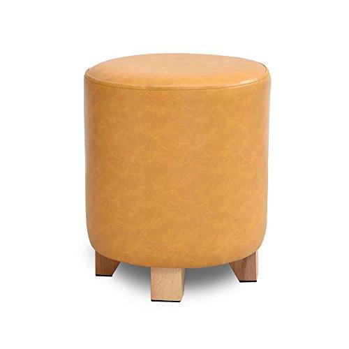 ZRXian-Fußhocker Massivholz Schuhe Hocker Gepolsterter Hocker Fußstütze Leder Schminktisch/Make-up Hocker Esszimmerstuhl Kleiner Sitz Fußstütze (Farbe : Orange, größe : 29 * 35cm)