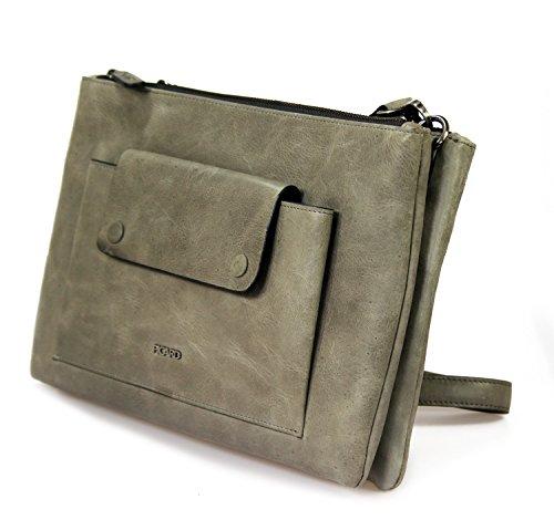 Picard Mounty 8978 Ledertasche Umhängetasche mittelgroß Damentasche freie Farbwahl , 30x20x4 cm (B x H x T) stone (grau)