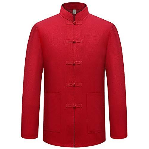 DAZISEN Herren Langarm Jacke - Klassischer Stil Chinesischer Tang-Anzug Kostüme Kung Fu Oberteile, - Roten Anzug Jacke Kostüm