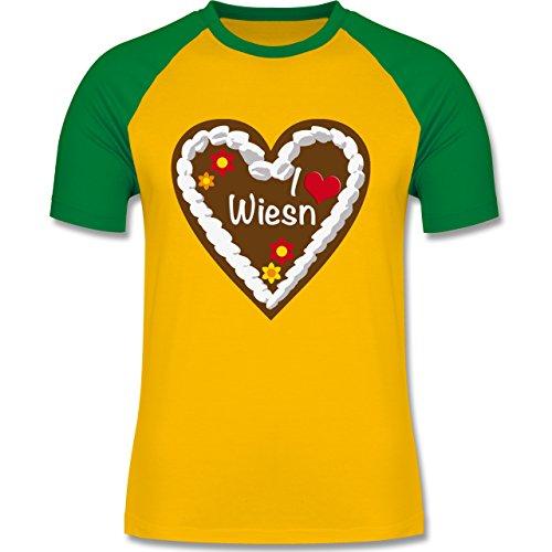 Oktoberfest Herren - Lebkuchenherz I love Wiesn München - zweifarbiges Baseballshirt für Männer Gelb/Grün