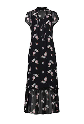 Expresso Holly Damen schwarzes Maxi-Kleid aus Voile mit Print und kurzem Arm, Schwarz, 46 -