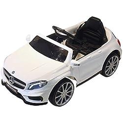 Homcom Voiture véhicule électrique Enfants Mercedes GLA AMG 6 V 15 W V. Max. 7 Km/h télécommande Effets sonores + Lumineux Blanc