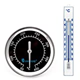 Lantelme 5935 Grilhaubenthermometer und Kunststoff Außenthermometer - Grillhauben Thermometer Analog, Aus Edelstahl