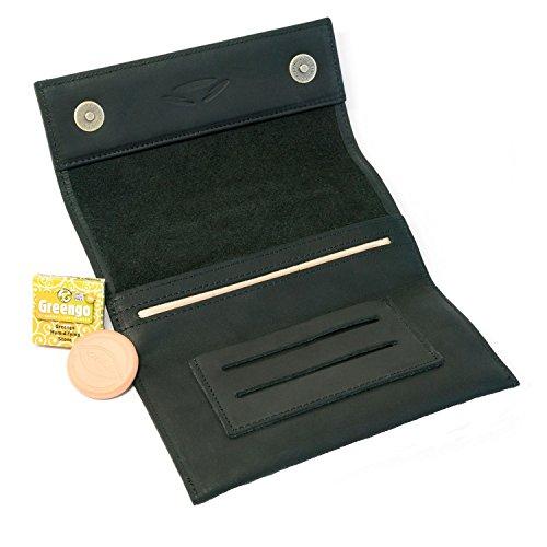 Führen Filter Entfernen (COMARI Tabaktasche aus Leder   Double-Paper- & Filterfach   Magnetverschluss   gratis Greengo Tabakbefeuchter (Schwarz))
