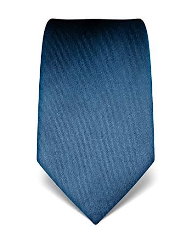 Vincenzo Boretti Herren Krawatte reine Seide uni einfarbig edel Männer-Design zum Hemd mit Anzug für Business Hochzeit 8 cm schmal/breit blau -