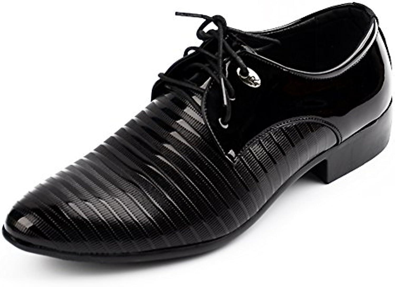 Blivener Modische Lackleder Lederschuhe Lässige Spitze Derby Schuhe Schnürschuhe