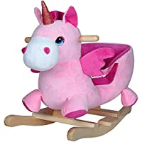 Deuba Rocking Horse 75cm Sounds Wooden Horse Unicorn Dinosaur Rocker Soft Plush Toddler Kids Baby Children Christmas Toy