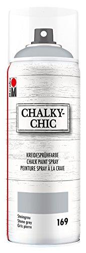 Marabu 02630018169 - Chalky Chic Spray, deckende, matte Kreidesprühfarbe auf Wasserbasis, für samtweiche Oberfläche auf Holz, Metall und Kunststoff, Used Look durch Anschleifen, 400 ml, steingrau