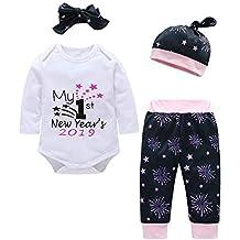 Mbby Tuta Neonata Natale 3-24 Mesi Ragazza Bambina Set Pagliaccetto +  Pantaloni + Cappello 6ffd2acacac