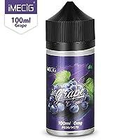 Vape Liquid, E Liquid, IMECIG Grape Vape Juice, 100ML Large Capacity, Vape Oil with Child Lock, E Liquid Fits All E Cigarettes Starter Kits, 70VG/30PG, No Nicotine 28