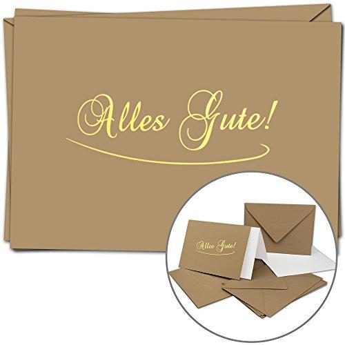 5 Alles Gute Grußkarten im Set | DIN A6 | Komplett-Set aus Doppelkarte & Umschläge & Einleger, stilvolle Glückwünsche, Genesung | Braune Abschieds-Karten und Hüllen mit Gold-metallic Schrift - Braune Gut